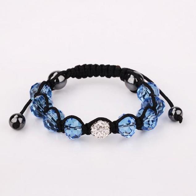 Disco Ball Austrian Crystal Strap Bracelet & Gemstone Beads -Dark Sapphire