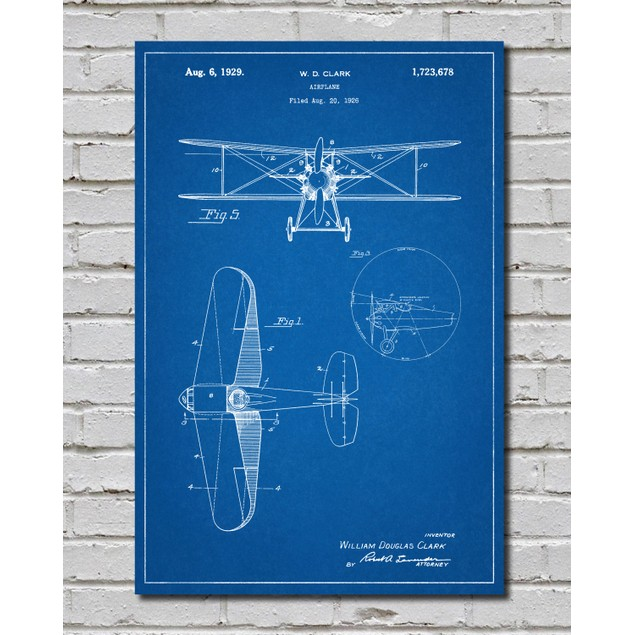 Staggered Biplane Aircraft Patent Poster -3 Colors