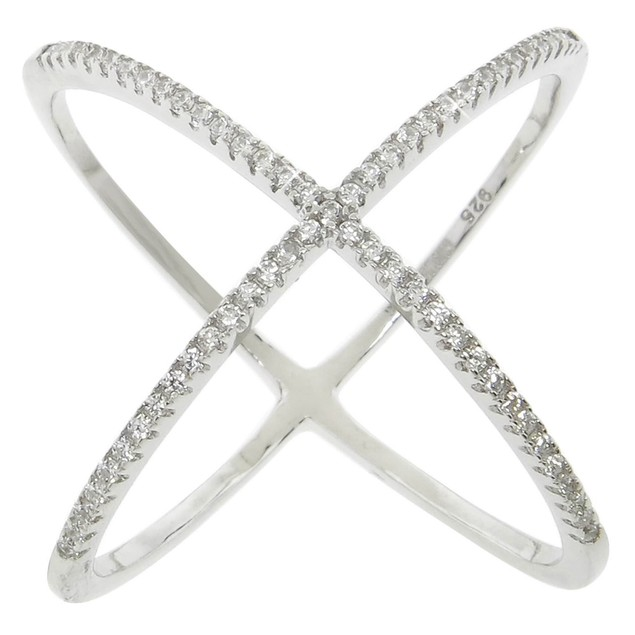 """Sterling Silver Pave """"X"""" Ring with CZ Stones"""
