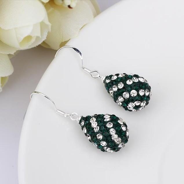 Two Toned Austrian Stone Pear Shaped Drop Earrings -Dark Green