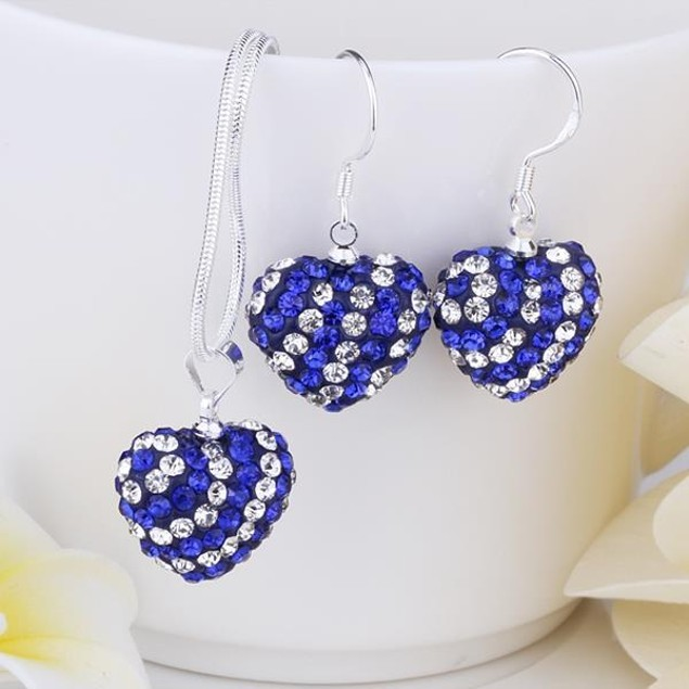 Austrian Stone Multi-Pave Heart Drop Earring and Necklace Set - Royal Blue