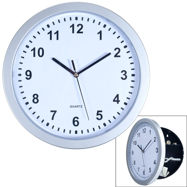 Silver Wall Clock with Hidden Safe
