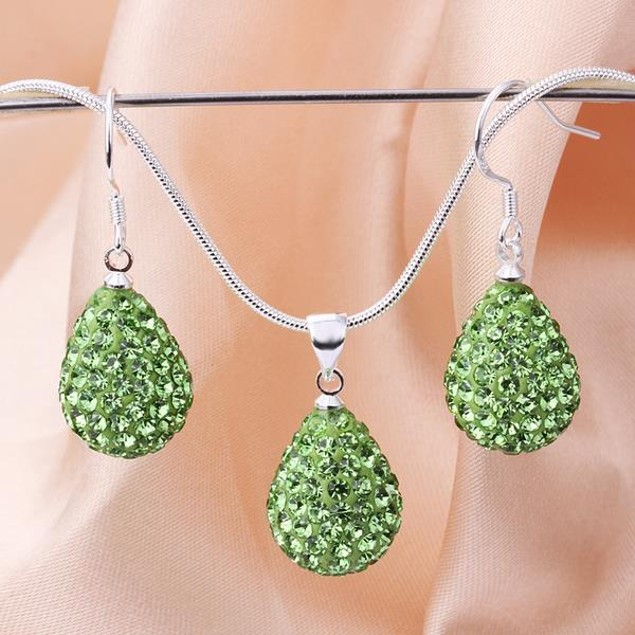 Austrian Stone Solid-Pave Pear Earring and Necklace Set - Light Green
