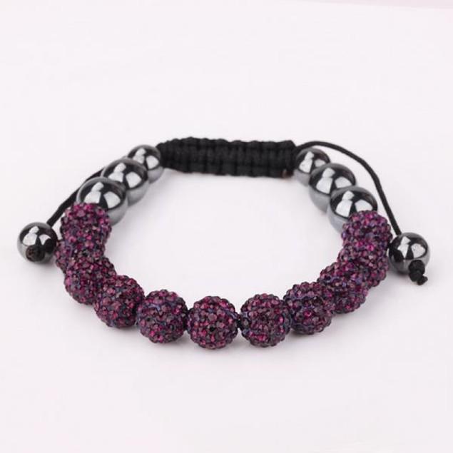 Disco Ball Eleven Beads Austrian Crystal Bracelet - Vivid Dark Lavender