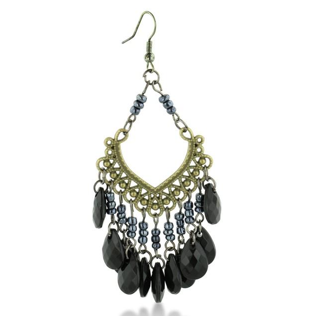Black Beaded Gold Tone Chandelier Earrings