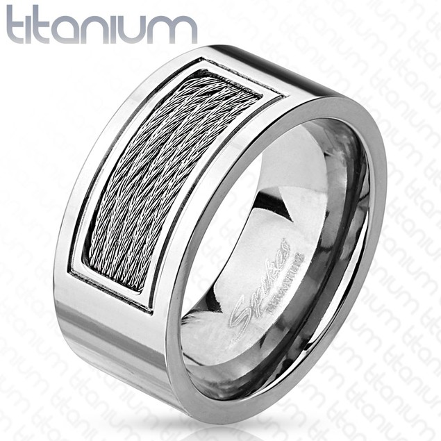 Wired Cables Inlayed Titanium Ring