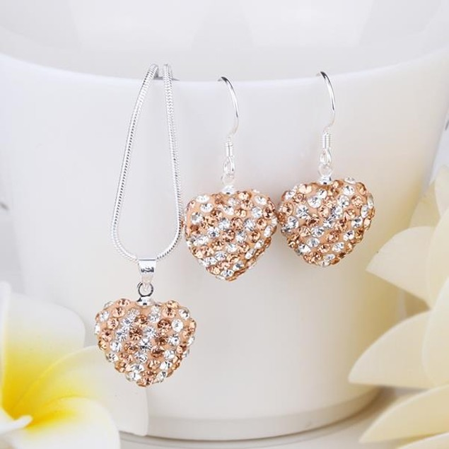 Multi-Pave Heart Drop Earring and Necklace Set - Crystal Citrine