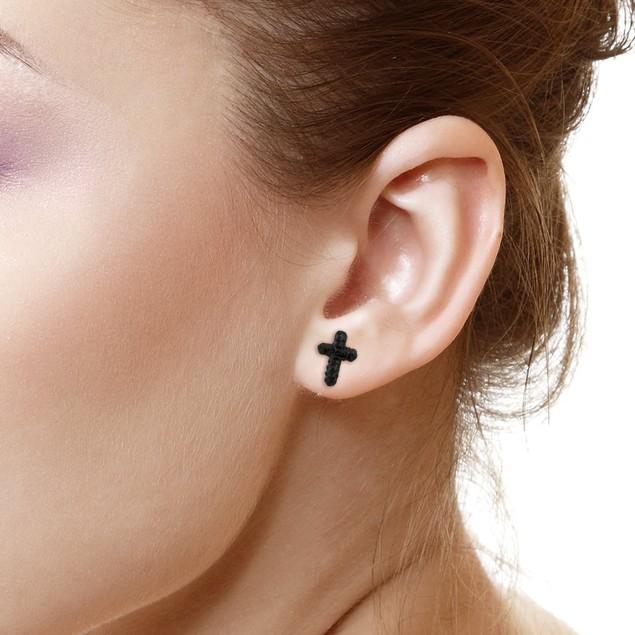 Sterling Silver Sparkling Crystal 10mm Stud Earrings - Cross Jet Black