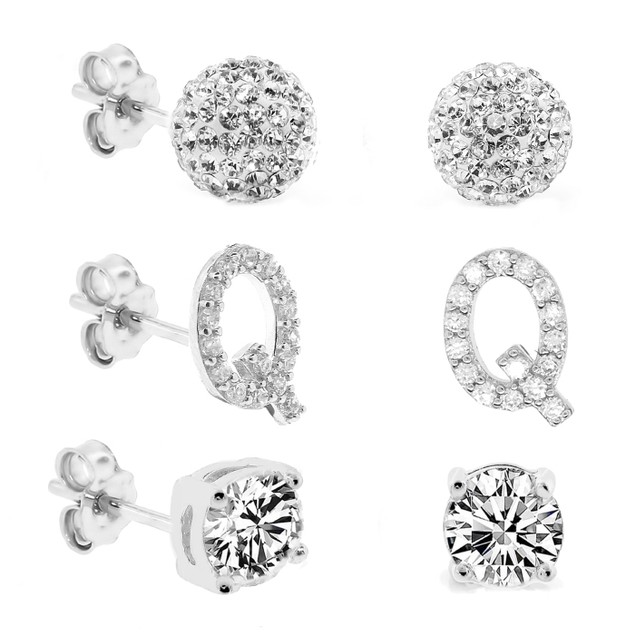 3-Piece Set: Initial Stud Earrings with Swarovski Elements - Q