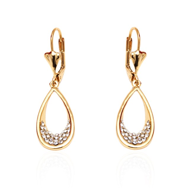 Gold & Crystal Teardrop Earrings Made with Swarovski Elements