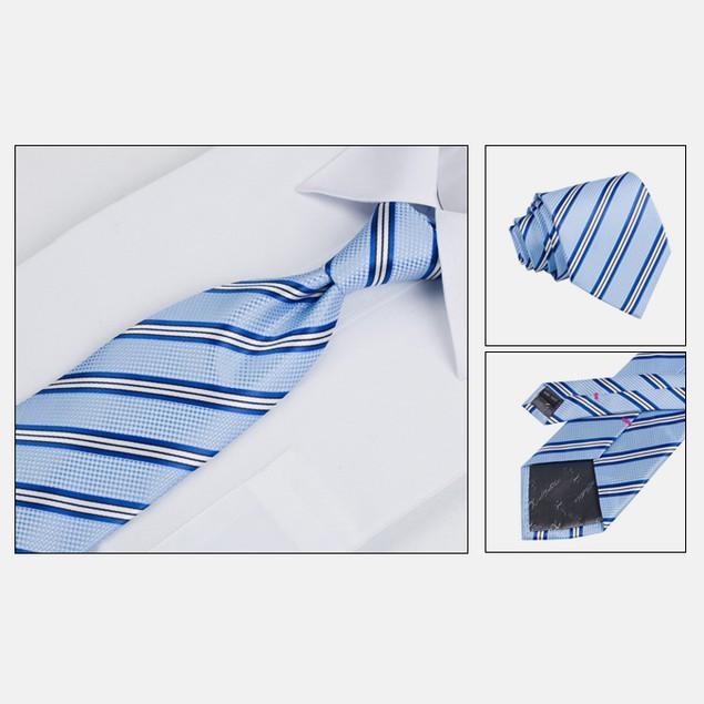 Mens Dress Suit Tie Set - Light Blue Stripe