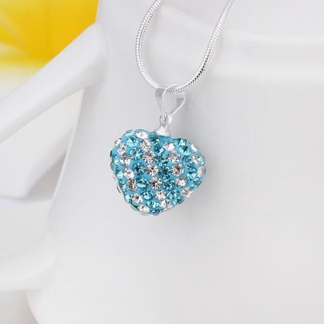 Multi-Toned Austrian Stone Heart Shaped Necklace - Aqua Blue