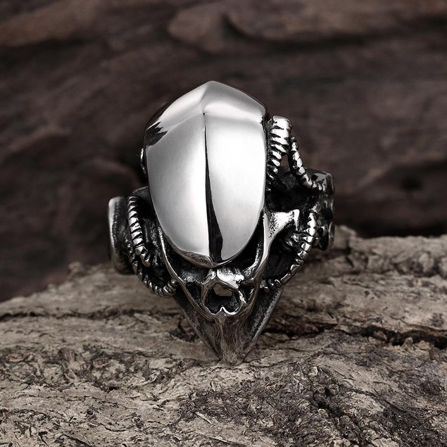 Stainless Steel Abstract Reptile Ring