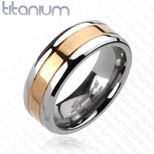 Center Rose Gold Titanium Ring