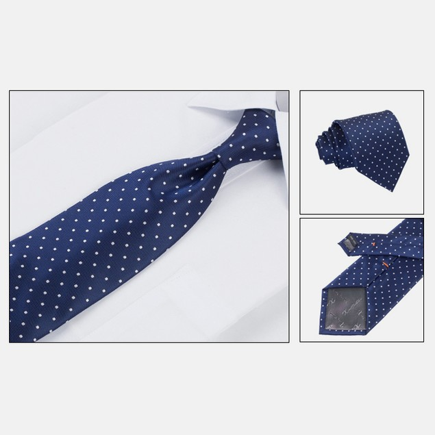 Mens Dress Suit Tie Set - Blue Polka Dot