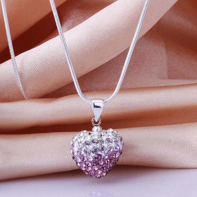 Two Toned Crystal Austrian Stone Heart Shaped Necklace - Light Lavender