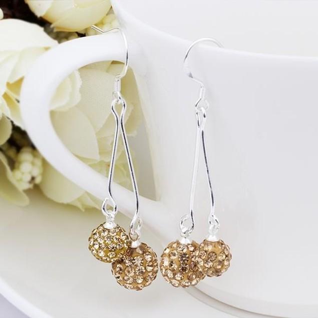 Austrian Stone Drop Earrings -Champagne
