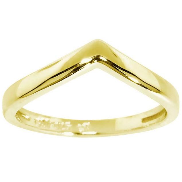 Gold over Sterling Silver Chevron Midi Rings