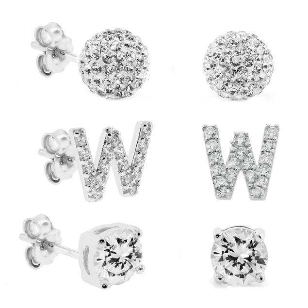 3-Piece Set: Initial Stud Earrings with Swarovski Elements - W