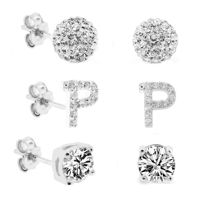 3-Piece Set: Initial Stud Earrings with Swarovski Elements - P