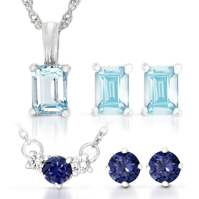 Sterling Silver Sapphire & Topaz Earring and Pendant Sets