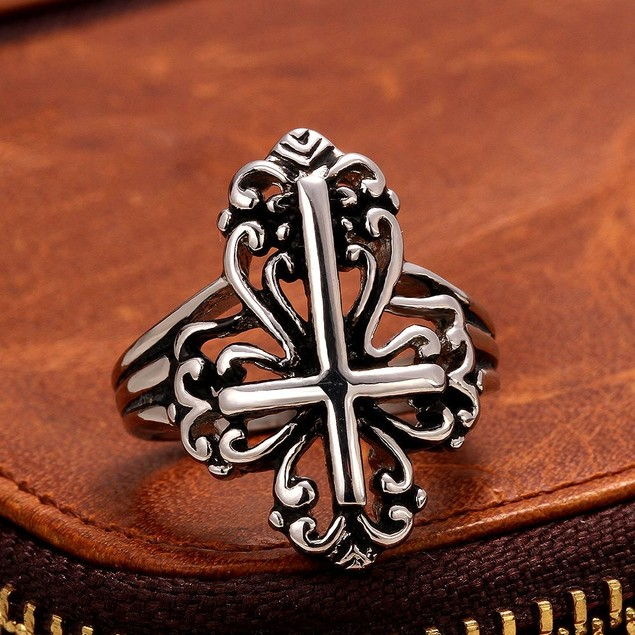 The Cross Emblem Design Stainless Steel Ring