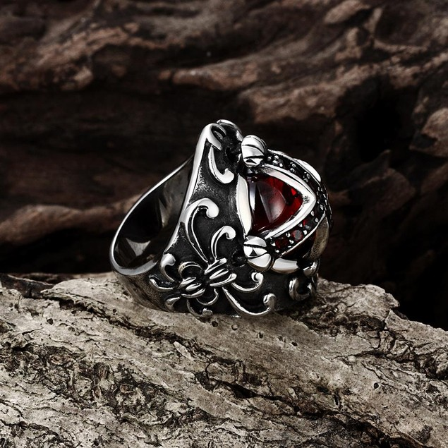 Ruby Red Shield Cross Stainless Steel Ring