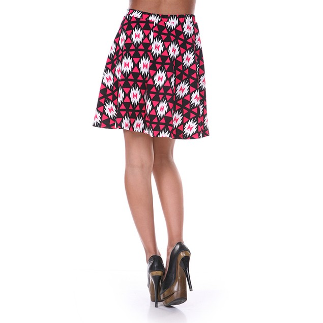 Fuchsia & Black Diamond Print Skater Skirt