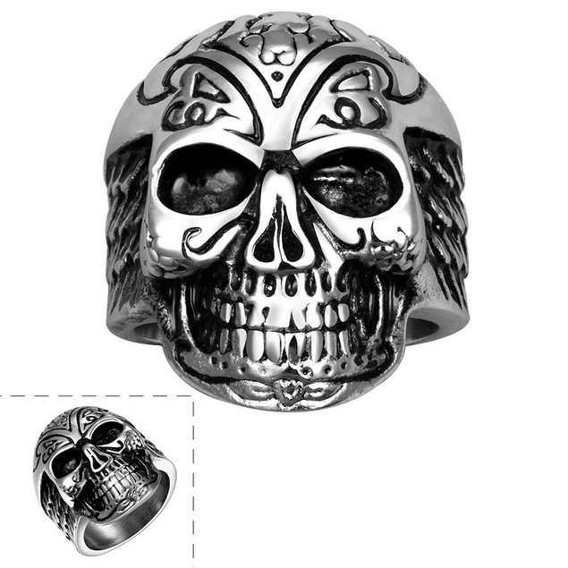 Thick Rounded Stainless Steel Skull Ring
