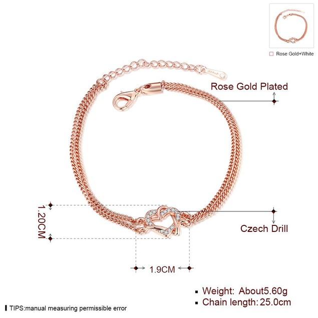 Rose Gold Plated Interlocking Heart Bracelet