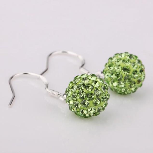 Vivid Light Austrian Stone Green Drop Earrings