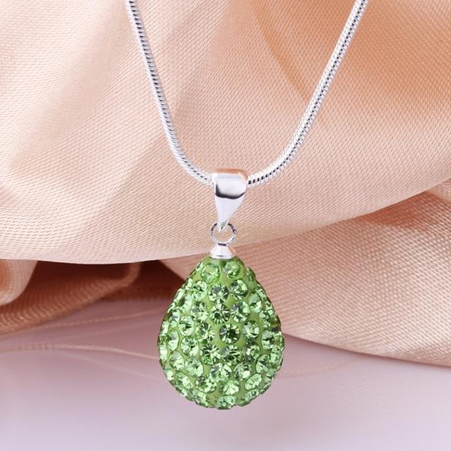 Solid Austrian Stone Pear Necklace - Vivid Emerald