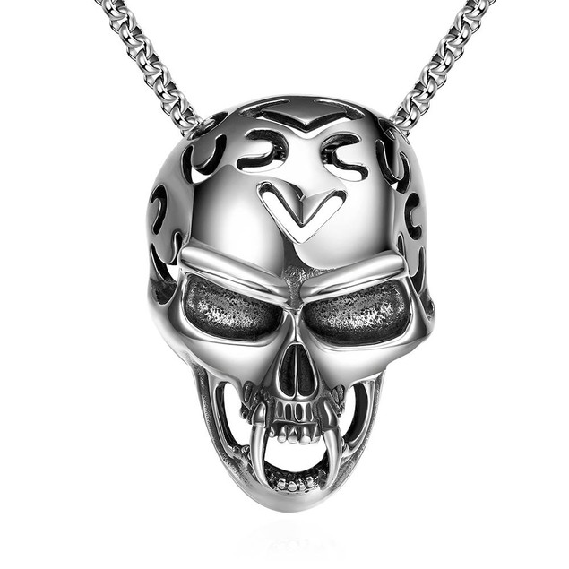 Alpha Steel Skull Helmet Emblem Stainless Steel Necklace