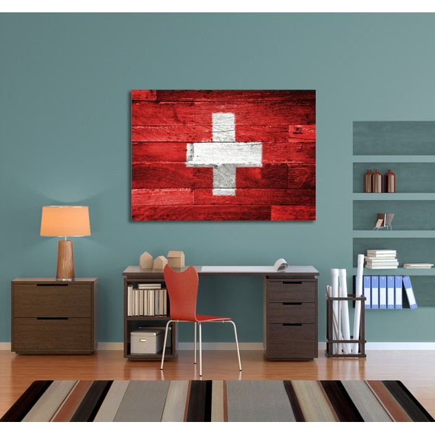 Wood Planks Switzerland Flag Canvas Print