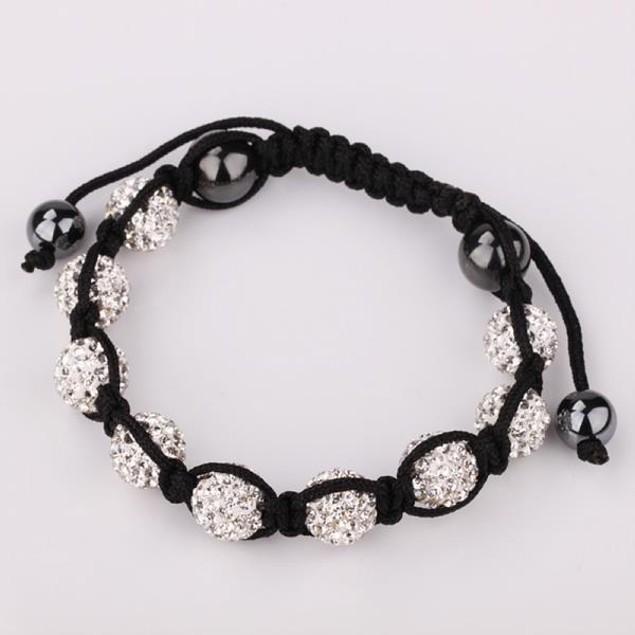 80's Glam Eight Beads Austrian Crystal Bracelet - Bright Crystal