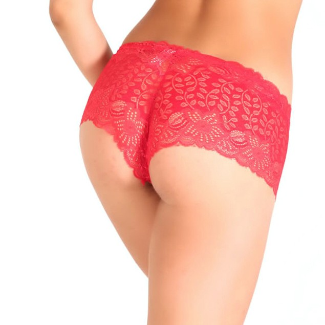 12-Pair Soft All-Over Lace Boyshort Panties