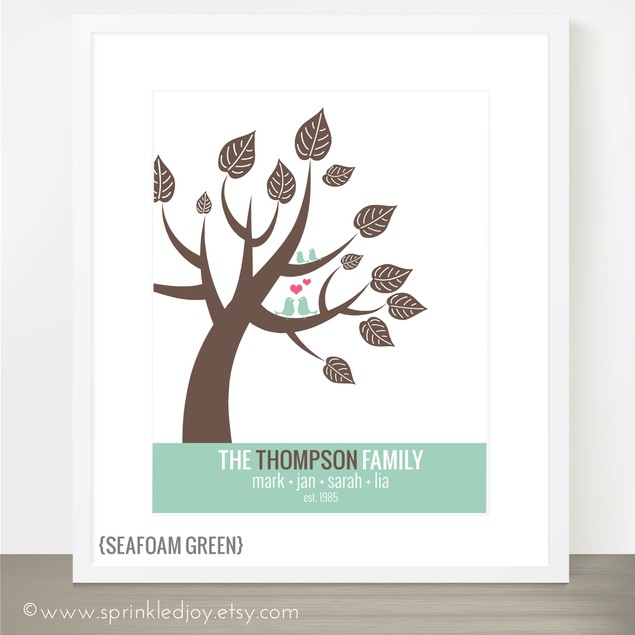 Modern Love Birds in a Tree Personalized Print