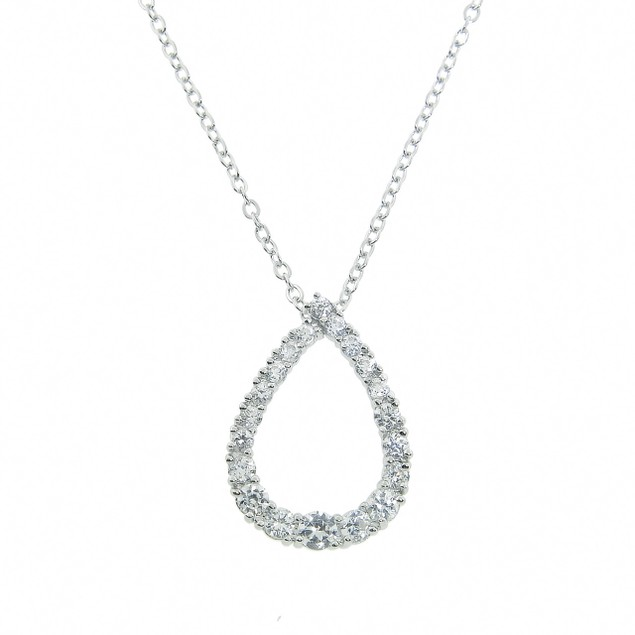 Simulated Diamond Teardrop Pendant - 1.8ct