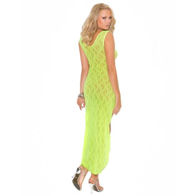 Elegant Moments Chartreuse Hi-Lo Lace Dress