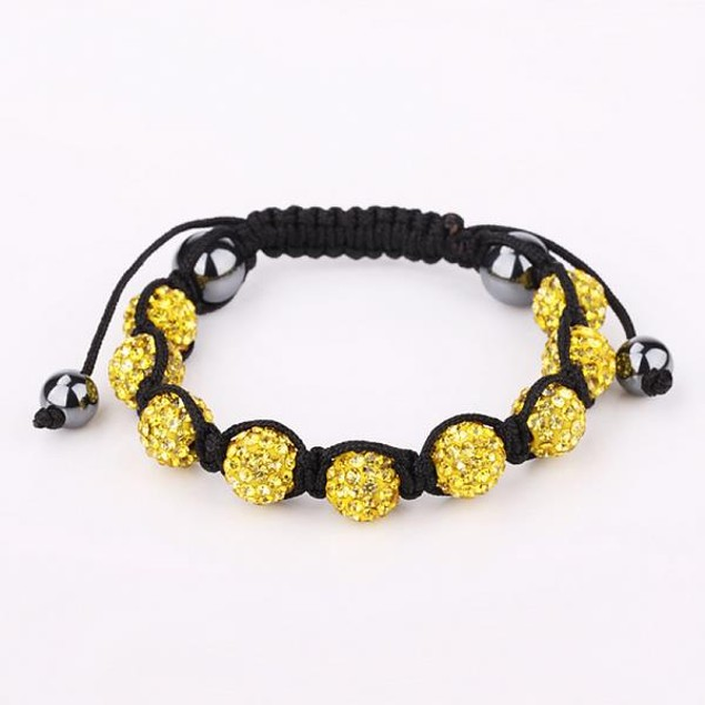 80's Glam Eight Beads Austrian Crystal Bracelet - Yellow
