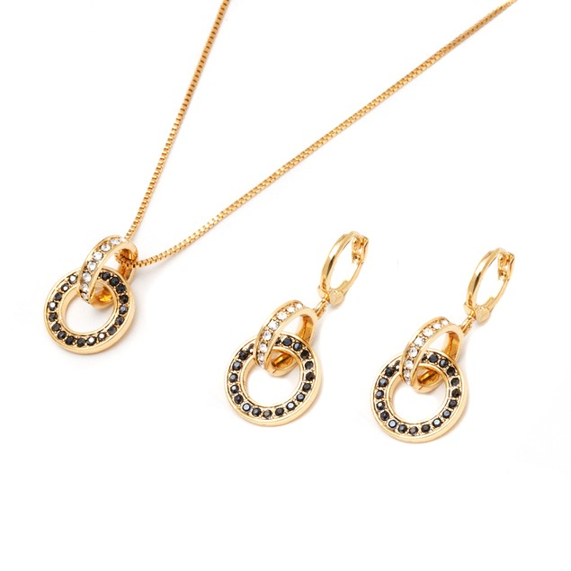 Marcasite & Crystal Double Ring Earrings & Pendant Set