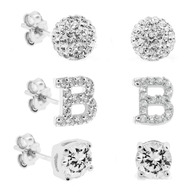 3-Piece Set: Initial Stud Earrings with Swarovski Elements - B