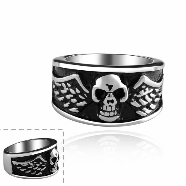 Skull Wing Embelm Ring Band