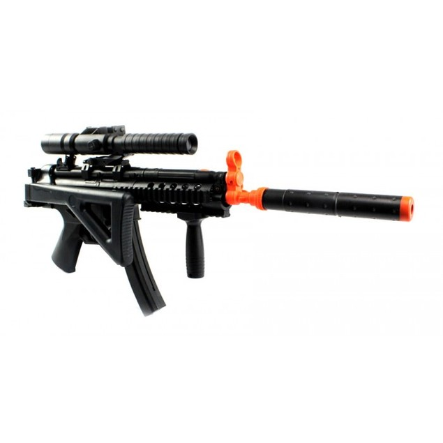 Silenced Tactical R.A.S. Spring Airsoft Gun FPS-300 with Flashlight
