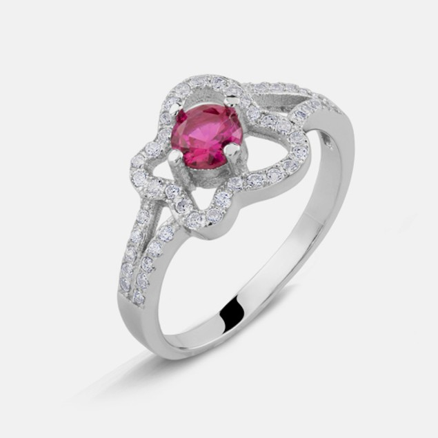 Pink Butterfly CZ Ring