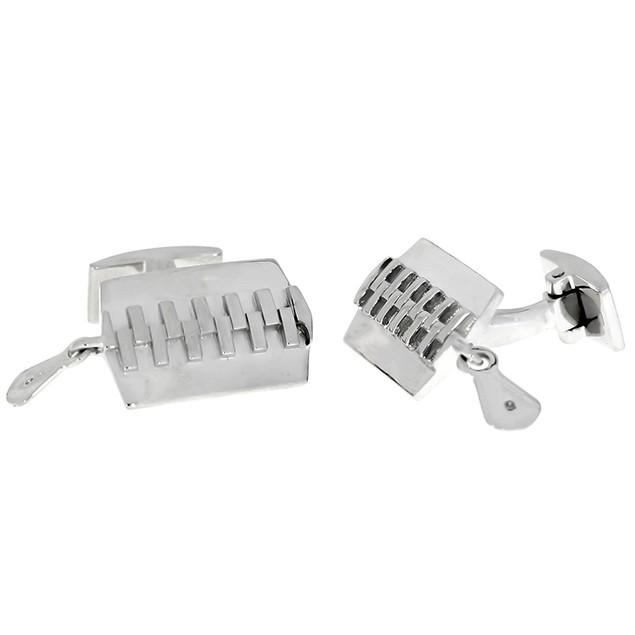 Zipper Style Sterling Silver Cufflinks