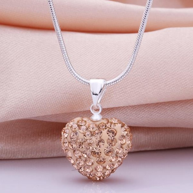 Solid Austrian Stone Heart Shaped Necklace - Champagne