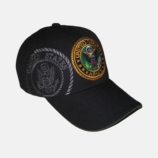 Black US Army Cap - Gold/Pattern