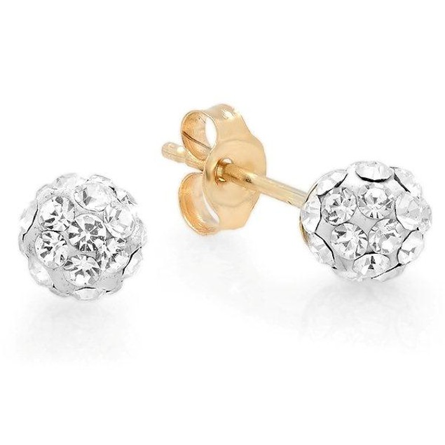 14Kt Gold Earring Crystal Disco Ball With Simulated Diamond 4mm