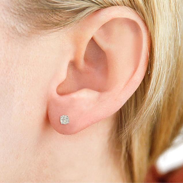 Certified 1/2ct Natural Genuine Diamond Stud Earrings In 14 Karat White Gold